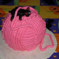 Ball Of Yarn Ball cake, buttercream, fondant cat. Made for Mother-in-law's birthday. She like it.