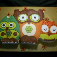 Trio Of Owls This was made for a baby shower. This matches the invitations, which also matches the baby room decor. I really loved making this cake. So...