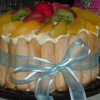 Tropical Charlotta I MADE THIS CAKE FOR MY FRIENDS AT WORK, I PUT ON THE INSIDE KIWIS, STRAWBERRIES,PEACHES, CARAMBOLAS(STARFRUITS)AND RAMBUTAN(I THINK THEY...