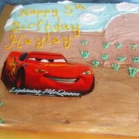 Hayley's Cars Cake   buttercream with an edible image cut out on top