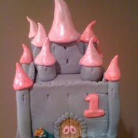 Princess Castle First Birthday Cake For my niece's first birthday. This was her own cake to dive into. I can't remember the exact size, but it was maybe 6 inches...