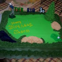 Golf Cake I made this for my husband's 30th birthday. I got the idea from several other cakes here on CC. It is a WASC with buttercream icing. I...