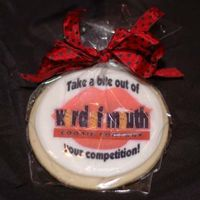 Photo Logo Cookie2   Cut-out sugar cookie, MMF/RBC icing, edible image, cello bag with fabric ribbon. My cookie company business logo