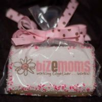 Photo Logo Cookie1   Business card sized sugar cookie, MMF/RBC combo icing, edible image, sprinkle border. Bagged and tied with fabric ribbon