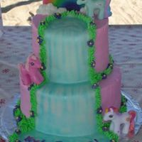 "My Little Pony Waterfall Cake My daughter's 2nd birthday cake, inspired by another CC'er. 8"" and 6"" stacked, buttercream with fondant waterfall,..."
