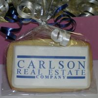 Business Card Cookie   Business card sized cookie, MMF/RBC icing, edible image, cello bag and curling ribbon