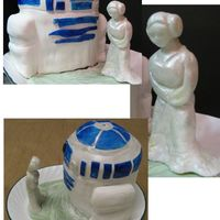 Help Me Obi-Wan! stacked chocolate cakes (two six inch rounds on top of one seven inch round) sculpted and covered in fondant. painted gum paste decals....