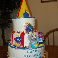 Backyardigans Circus Whipped buttercream covered vanilla-almond flavored cake with fondant accents. Circus tent topper made from covering a party hat with...