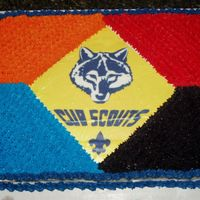 Cub Scout Cake  I made this for my son's scout awards banquet. The colors are based on the badge colors for Tiger, Wolf, Bear and Webelos. The emblem...