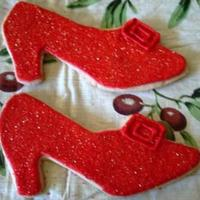 Ruby Slippers Sugar cookie with royal icing from freehand pattern.