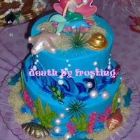 Mermaid Little Mermaid themed birthday party. Inspiration for design came from Sugarshack's ocean looking cake.