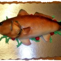 Spot Tail Bass Groom's Cake Hi all! This was done for a groom who loves fishing. Devil's foodcake and covered in fondant. Then veined and airbrushed. TFL!!