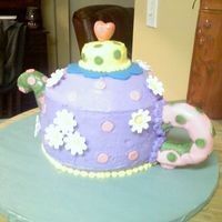 Tea Pot Cake I did this for a little girls Birthday party - It was a tea party Theme. The handle and spot are made out of rice krispy treats covered in...