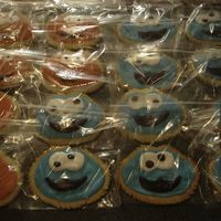 Elmo And Cookie Monster Cookies NFSC and RI. My 1st time using these recipes, and 2nd time using RI. They are favours for my daughters 2nd birthday party!(They are handcut...