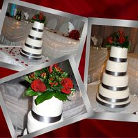 April's Wedding Cake White cake with custard filling. Covered in fondant, dusted with white pearl dust, grey silk ribbon around the bottom. Top with fresh red...
