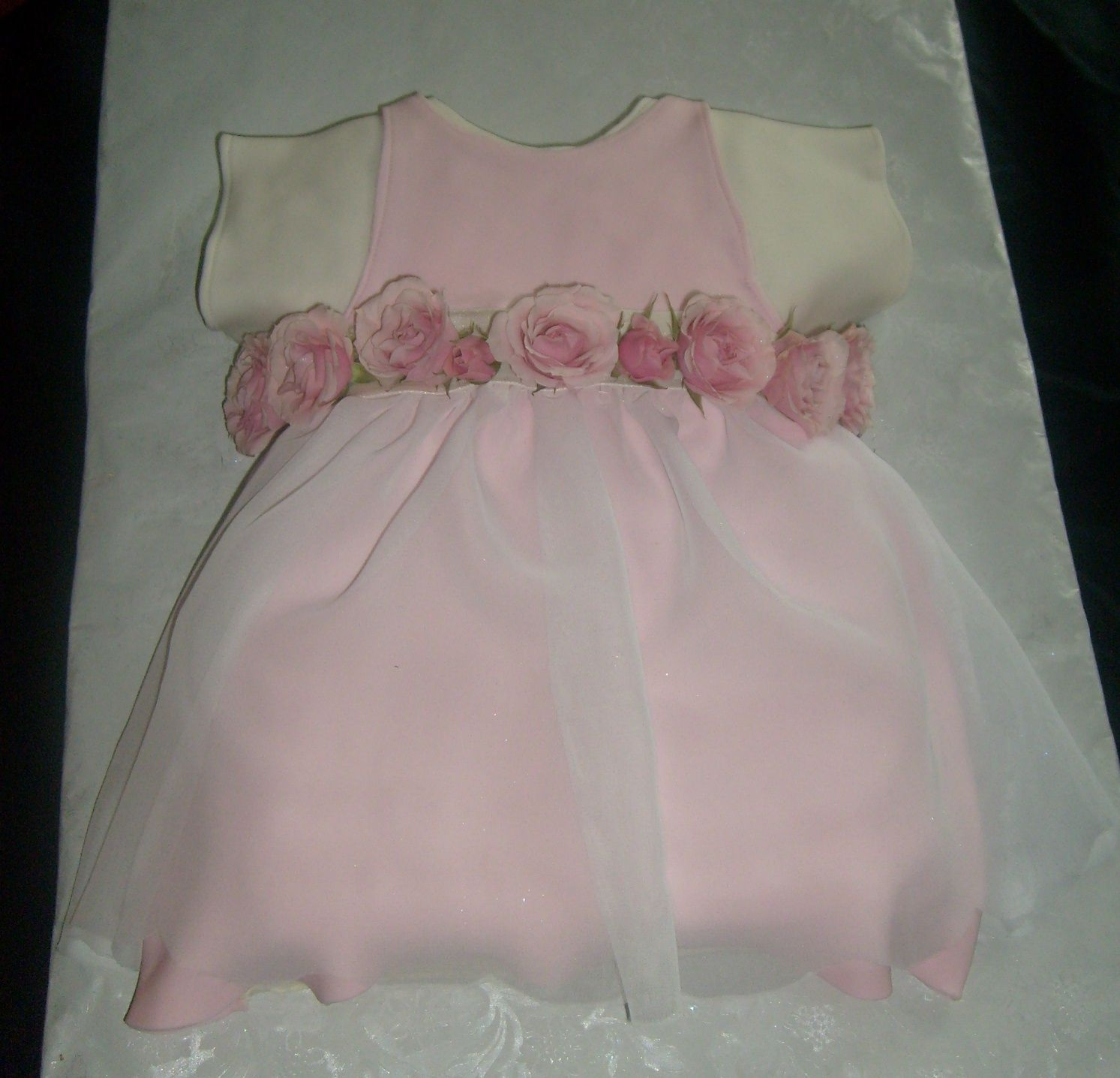 Baby Dress baby dress and fondant accents. fresh tea roses