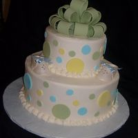 "Green Theme Baby Shower vanilla cake, b/c icing. 10 and 6"" cakes, fondant accent pieces"