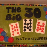 30Th Birthday Cake A 30th birthday cake for my husband and his friend of 20+ years. Iced in buttercream with fondant cards and poker chips. I used a toothpick...