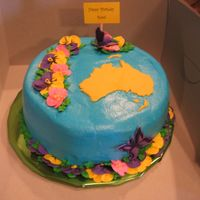Aussie Birthday Cake  A birthday cake for a friend from the land down under. To make Australia, I printed clip art from the internet, cut it out (very tedius),...