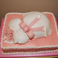 Baby Shower Cake Buttercream with fondant shirt and gumpaste roses