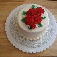 "Anniversary Cake For My Friend   I made this for my friend's wedding anniversary. Just a 6"" buttercream with gumpaste flowers. Thanks for looking!"