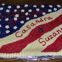 Patriotic Birthday Cake For Neighbor  This is a patriotic birthday cake I made for my neighbor who has a daugter and neice with birthdays on Independence Day. One half is...