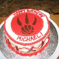 Raptor Cake My husband LOVES the Toronto Raptors...so I made a Carrot Cake with a Chocolate Transfer of the team's logo, along with some...