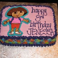 Dora Birthday Cake This was my first attempt at a FBCT. I did it several days ago and stored it in the freezer for safe keeping, but of course, on the day...