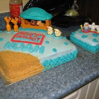 Noah's Ark It's been a while since I've decorated a cake, so I really actually enjoyed making this one! A friend requested a cake for her...