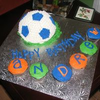 Soccer Ball I used the sports pan to make this chocolate soccer ball w/cookies & cream filling and BC icing for my godson's 9th birthday!
