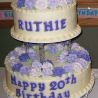 Ruthie's 20Th (80Th) Birthday She's a leap year baby! The lettering is fondant, all else is buttercream.