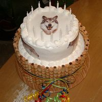 "Wolf Birthday Cake This was a very ""last minute"" order... If it hadn't have been a close friend of mine, I probably would not have done it, but..."