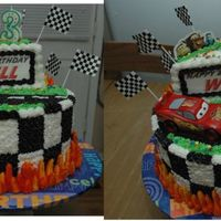 "Will's ""cars"" Birthday Cake Will turned 3 years old and begged for a 'Cars' cake. WASC cake with Almond Buttercream."