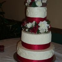 Red Or Burgandy Wedding Cake I made this for my friend's wedding, and it was the first wedding cake (and only so far) I have made. I stressed out over it quite a...