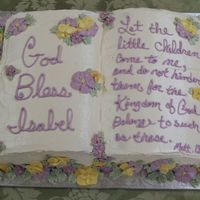 Baptism Cake This is a cake I made for my niece's baptism which was on Easter Sunday. I wanted it to look like the book was sitting in a bunch of...