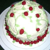 Raspberry Cake This is a birthday cake I made for my friend modeled after one in the Wilton School Decorating Cakes reference and idea guide book. The...