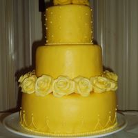 Yellow Spring Cake  This cake was inspired by JenniferMI's beautiful yellow cake using fresh flowers. I covered cake in mmf and molded roses from it as...