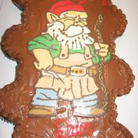 Gnome Cupcake Cake   Chocolate cupcake cake with FBCT. We have a guy at work that looks just like this, kid you not!