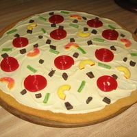 "Pizza   Pizza with white chocolate ""cheese"" and licorice ""pepperoni"""