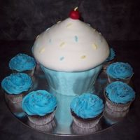 Giant Cupcake Giant cupcake and normal size cupcakes made for 1st birthday of my godson. Little cupcakes are chocolate mud...giant cupcake is Cowboy...