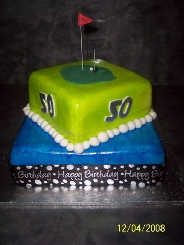 Golfing Birthday 9 inch and 6 inch square mud cakes covered in white fondant then colour paingted on...This was a cake for a friends 50th and I had free...