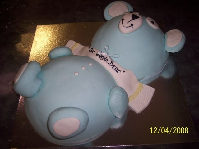 3D Teddy 3d Teddy bear cake for little boys combined 1st birthday/christening. I used the soccerball tin as I only had 1 weeks notice for this cake...