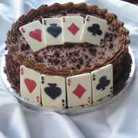 Chocolate Playing Cards I made this Groom's cake for my brother-in-law for their wedding july 5, 2008. I was 9 months pregnant and gave birth on July 10, 2008...