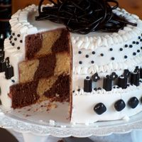 To A 40 Th Birthday. Chokolatecake was baked in a checkerboard.