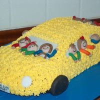 Yellow Car With A Lot Of Child Its to a summer party in the 1. class in school