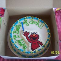 Elmo here is a chocolate elmo cake for my sons 1st bday. BC frosting and BCT
