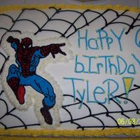 Spiderman Cake Here is a spiderman caked done for my 6yr old. White cake, vanilla pudding filling, BCT.