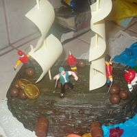 "Pirate Ship Cake Here is a picture of the pirate ship that I did for my 4 year old nephew. The ship was made using 2 8"" chocolate cakes w/ buttercream..."