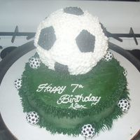 Soccer Ball Cake Here is a cake that I did for my friend's 7 year old daughter. This was the 1st cake that I actually sold. The bottom was a single...
