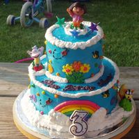 "Dora The Explorer Cake Here is a picture of the Dora the Explorer birthday cake that I did for my 3 year old daughter. The top layer is double layer 6"" round..."
